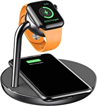 amBand Charger Stand Compatible with Apple Watch, 2 in 1 Wireless Charging Dock Station for iPhone and Apple Watch Series 4 3 2 1 38mm 40mm 42mm 44mm (Space Gray)