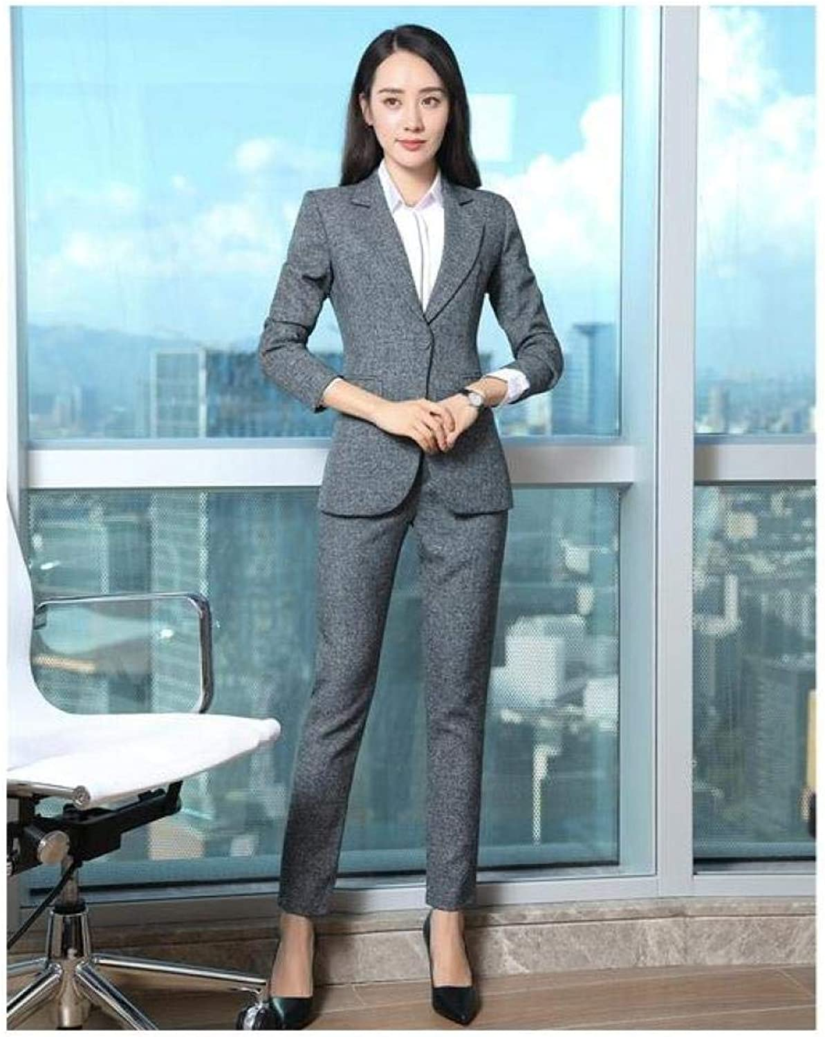 XUBA Ladies Grey Blazer Women Business Suits with Pant and Jacket Sets Elegant Office Uniform Designs OL Style
