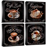 Kitchen Pictures Coffee Wall Art Decor Coffee Decorations Canvas Prints for Dining Room Coffee Bar Accessories 12x12' Vintage Espresso Cup Sign Poster Mocha Drink Table Painting Artwork 4 Panels