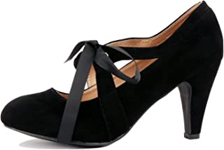 Womens Bow Tie Mid Heel Dress Pump - Comfortable Ribbon Party Shoes