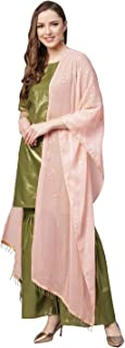 Ahalyaa Shimmer Green Cotton Kurta Gharara with Peach Dupatta