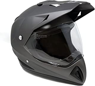 Motocross Full Face Helmet - Dual Sport Off-Road Motorcycle Dirt Bike ATV – with Flip-Up Visor - 27V (Large - Matte Gray)