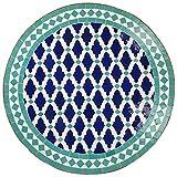 Casa Moro Mediterraner Mosaiktisch M60-52 Ø 60cm rund Blau-Türkis mit Gestell Höhe 73cm Kunsthandwerk aus Marokko Dekorativer Balkontisch Gartentisch Beistelltisch   MT2133