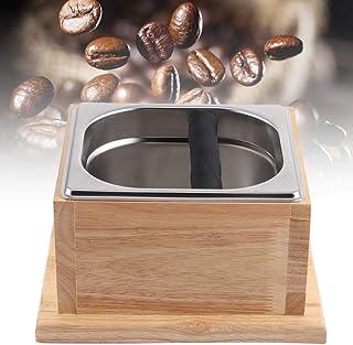 コーヒーグランドボックス ステンレススチール製コーヒーグランドノックコンテナバケットボックス 木製ベース付き コーヒーショップ、ミルクティーショップ、バーに使用する