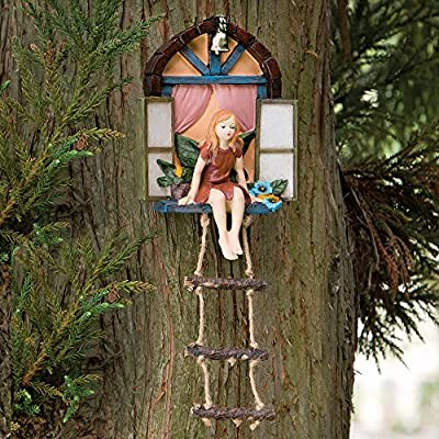 Bits and Pieces - Fairy House with Ladder Hanging Tree Sculpture - Outdoor Tree Statue - Whimsical Hand Painted Polyresin Garden Decoration