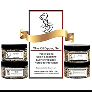 Chef Cherie's Bread and Olive-Oil Dipping Assortment Set - Includes 4 different Seasonings - 1 each of Everything Bagel Se...