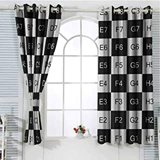 Checkers Game 3D Pattern Print Curtain Home Decoration Monochrome Chess Board Design with Tile Coordinates Mosaic Square Pattern Best Home Fashion Wide Width Thermal Insulated Blackout Curtain 55