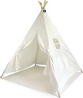 Hej Lønne Barn tipi, vitt tält, ca 120 x 120 x 150 cm stort, lektält med golvtak och fönster, inklusive påse och instrukti...