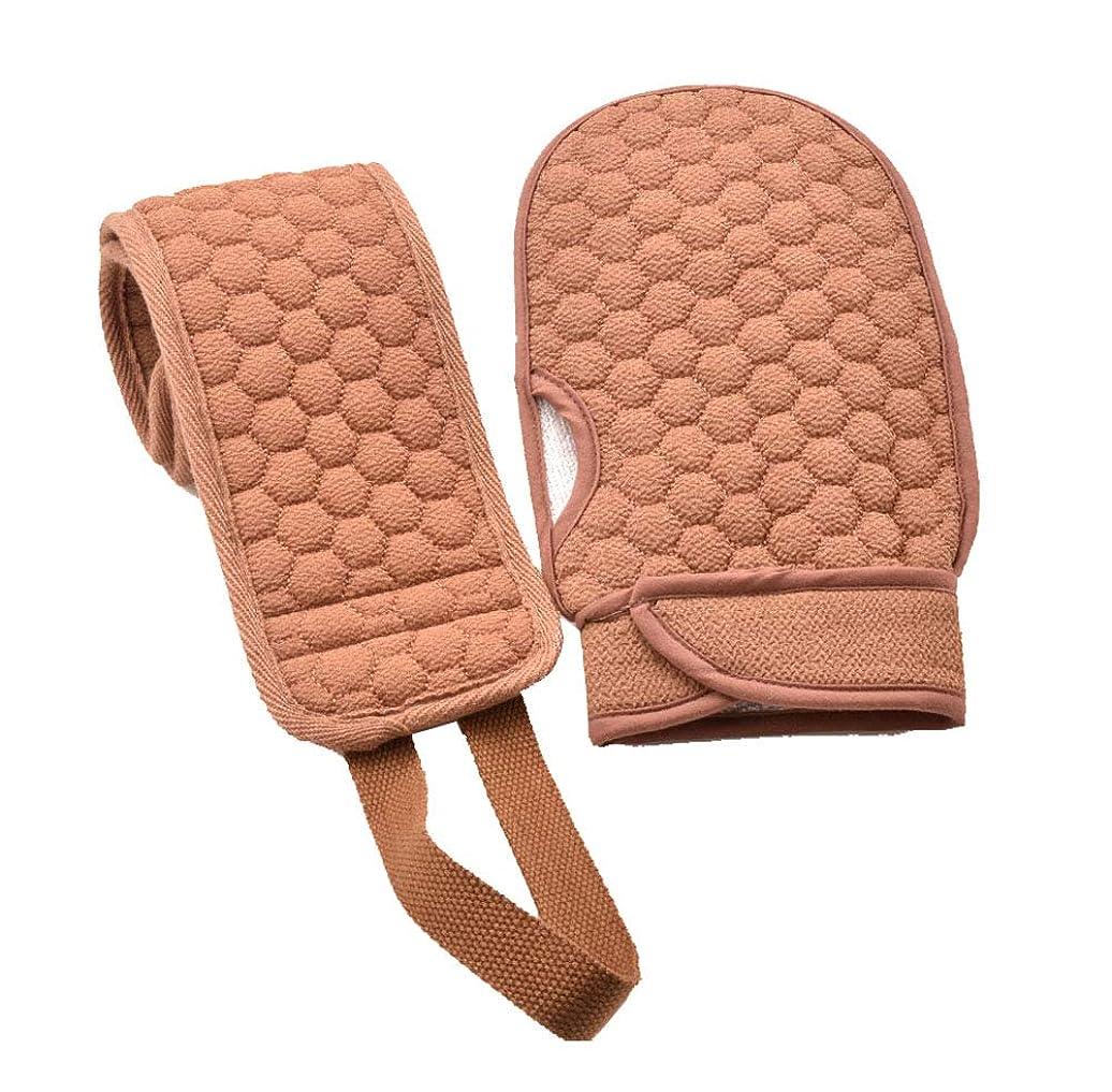 もろい従う密接にバスタブと入浴用手袋、2本のラビング用脱毛用バスブラシ/ Bセット