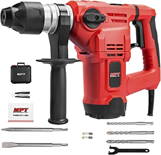 MPT 1500W Heavy Duty Rotary Hammer Drill,3 Function and Adjustabl Soft Grip Handle,Include 3 Drill Bits,Point and Flat Chi...