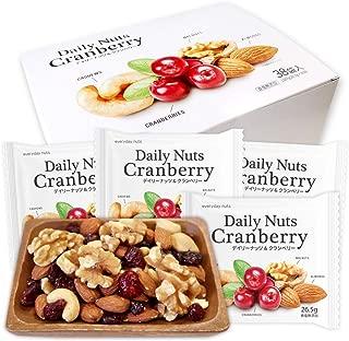 期間限定 個包装 小分け ミックスナッツ&ドライフルーツ 26.5gx38袋 Daily nuts Cranberry (アーモンド 生くるみ カシューナッツ ドライクランベリー) 産地直輸入 箱入り 超特価セール お得 無塩 保存料不使用