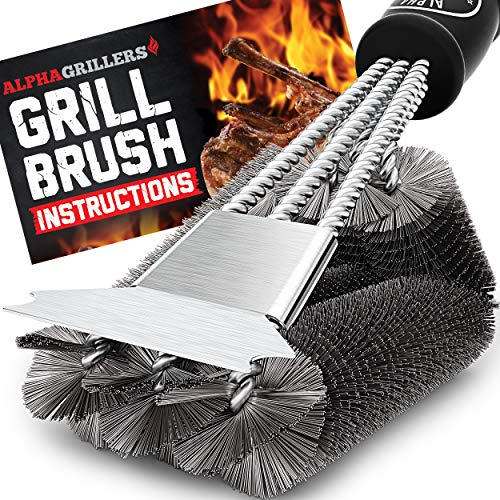 Alpha Grillers Grill Brush and Scraper. Best BBQ Cleaner. Perfect Tools for All Grill Types, Including Weber. Stainless Steel Wire Bristles and Stiff 18 Inch Handle. Ideal Barbecue Accessories  - 30% Brushes Combination Customer Customers favorites garden Grill It Keep lawn patio Scrapers V4