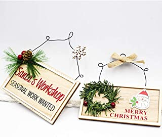 MASCARE Christmas Wood Wall Hanging Decor Sign,Xmas Wreath Ornaments Board Indoor/Outdoor Decorated Ornament 2pcs