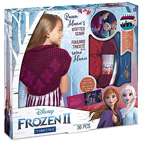 Make It Real – Disney Frozen 2 Queen Iduna's Knitted Shawl . DIY Arts and Crafts Kit Guides Kids to Crochet Queen Iduna's Shawl with Acrylic Yarn and Magical Frozen 2 Embellishments