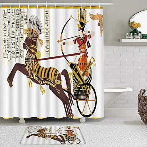 Ngkaglriap Juegos de Cortinas de baño con alfombras Antideslizantes, Rey Egipcio se detuvo en el carruaje Tiro con Arco Jeroglífico Antiguo Caballo de Sunbird con Pluma Headdr,con 12 Ganchos