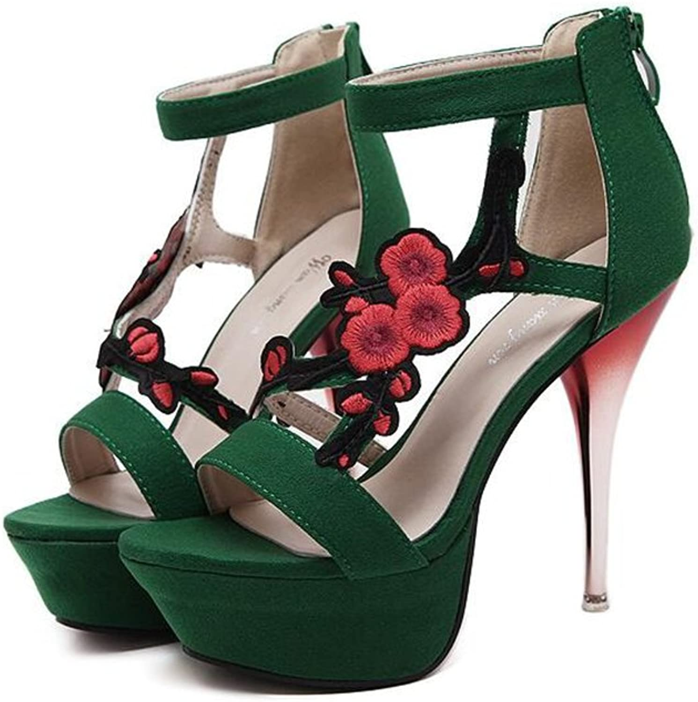 pink town Women's Flower Sandals Ankle Straps Dress Heeled Sandals