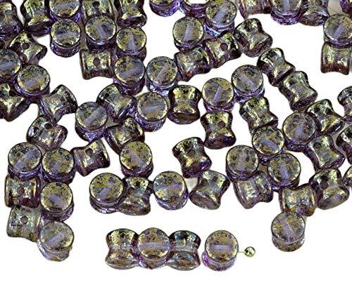 60pcs Picasso de Cristal Púrpura de Oro Brillo de Terracota PRECIOSA Bolita...