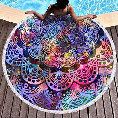 Go Go Grifendoor Toalla de playa ligera (redonda, 150 cm), color blanco