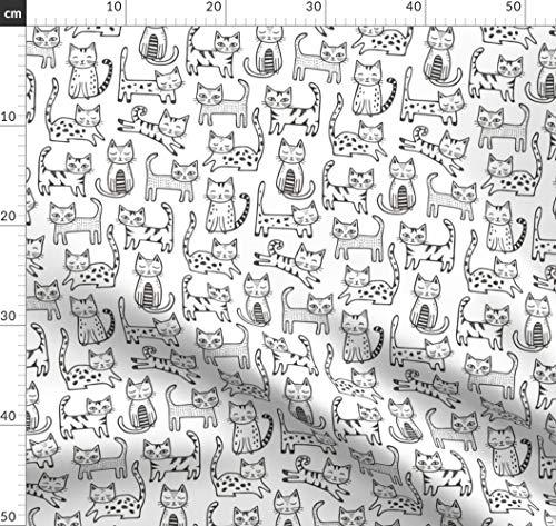 Katzen, Streifen, Süße Tiere, Katze, Geometrisch Stoffe - Individuell Bedruckt von Spoonflower - Design von Caja Design Gedruckt auf Baumwollstoff Klassik