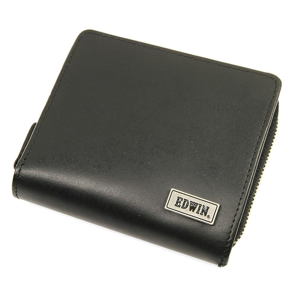 アライメントダイヤル釈義二つ折り財布 メンズ EDWIN(エドウィン) ボンデッドレザー No.0510443 ブラック(Black)