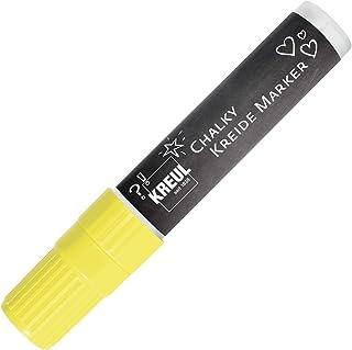 Kreul 22732 Chalky – Rotulador de tiza XXL, mate, tiza líquida no permanente, para dibujar sobre pizarras, pizarras magnéticas o superficies de cristal, con punta biselada, aprox. 15 mm, amarillo neón