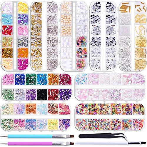 Duufin 12890 Stück Strasssteine Nägel Nagelschmuck Strass Kristalle mit 1 Stück Pinzette und 2 Stück Strass Picker Dotting Pen für Nägel Kunst Dekoration
