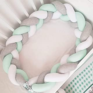 SKEIDO 2M Length Baby Braided Crib Bumpers Knot Pillow Cushion,Nursery Bed Set Room Dector Baby Crib Protector Bed Backrest