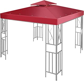 Flexzion 10' x 10' Gazebo Canopy Top Replacement Cover (Red) - Dual Tier Up Tent Accessory with Plain Edge Polyester UV30 Protection Water Resistant for Outdoor Patio Backyard Garden Lawn Sun Shade