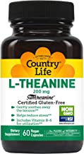 Country Life L-Theanine 200 mg - 60 Vegan Capsules - Gently Soothes Away The Tension - Helps Reduce Stress - Vitamin B-6