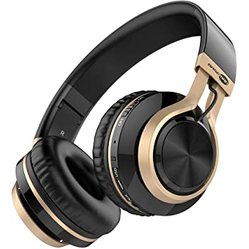 Baseman Wireless Bluetooth Headphones with Mic, On Ear Lightweight Foldable Wired Headphones, Hi-Fi Stereo Earphones Deep Bass Over Ear Headphone for Music Computer Laptop TV PC Kids(Black Gold)
