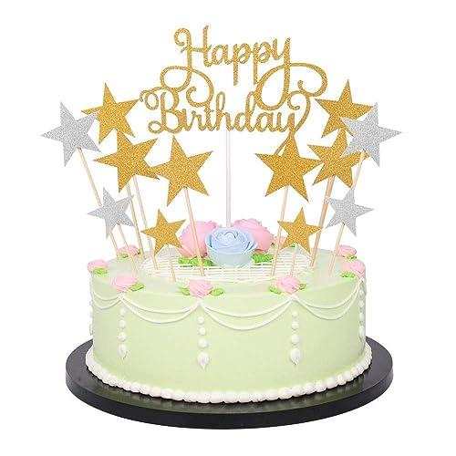 Decorazione per torte e cupcake oro e argento, con stelle e monogramma  Happy Birthday (