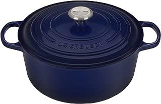 Le Creuset of America LS2501-2878SS Signature Round Dutch Oven, 7.25 qt, Indigo
