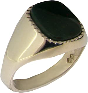 Solid 925 Sterling Silver Natural Bloodstone Mens Gents Signet Ring - Sizes 6 to 13 Available