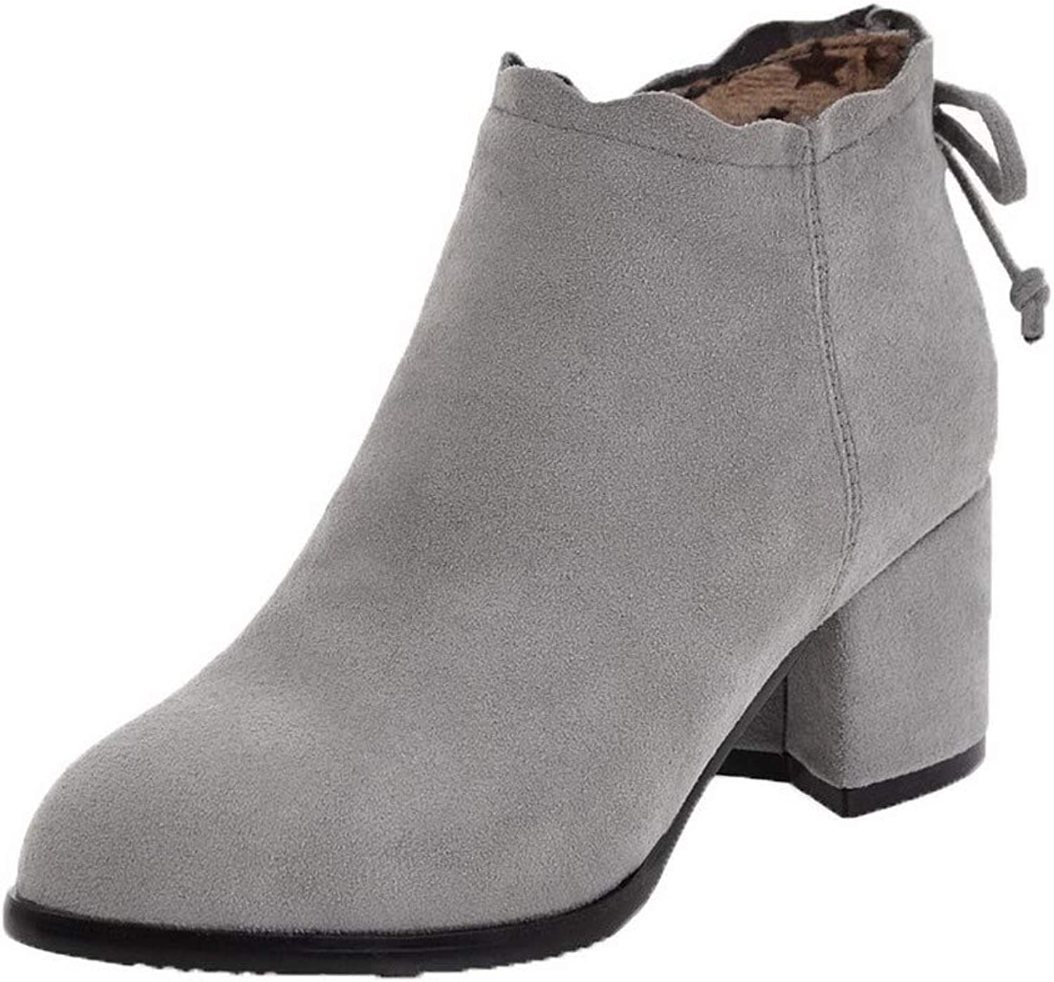 AllhqFashion Women's Frosted Round-Toe Solid Low-Top Kitten-Heels Boots, FBUXD133352