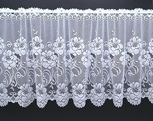 Scheibengardine aus hochwertigem Jacquard mit Blumen in rein weiß HxB 90x145 cm Panneaux mit gebogter Kante - auch als Store erhältlich - Bistrogardine Rosen Bordüre Gardine Typ318