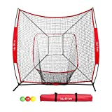 McHom 7' x 7' Baseball & Softball Bundle for Hitting & Pitching, Practice Net with 3 Weighted Balls, Strike Zone & Carry Bag, Collapsible and Portable