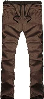 Mens Pure Color Loose Ankle-Length Pants Jogger Pants Biker Slim Fit Casual Tracksuit Running Sport Pants Sweatpants Trousers  Coffee  L2