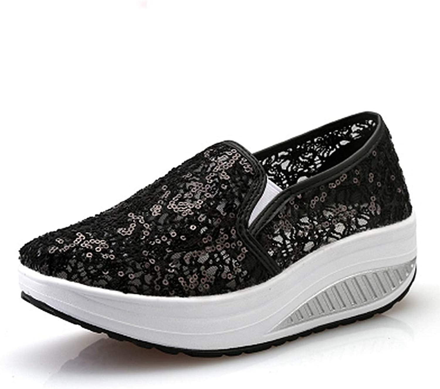 GIY Women's Slip On Wedges Sneakers Mesh Breathable Lightweight Sequin Casual Platform Slip-on Fitness Walking shoes