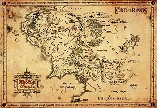 1art1 El Señor De Los Anillos - Pergamino Mapa De La Tierra Media Póster Impresión Artística (68 x 47cm)