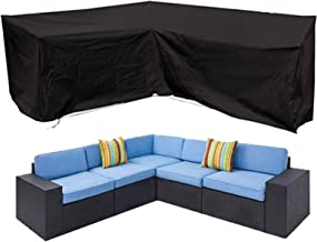 Oslimea Patio V-Shaped Sectional Sofa Cover Waterproof, Outdoor Sectional Furniture Cover Outdoor Sofa Cover L-Shaped Gard...