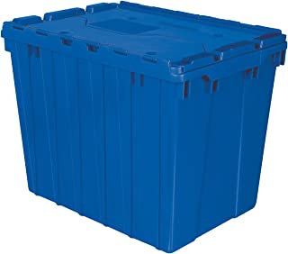 Akro-Mils 39170 Plastic Storage and Distribution Container Tote with Hinged Lid, 21.5-Inch L by 15-Inch W by 17-Inch H, Blue, Case of 3