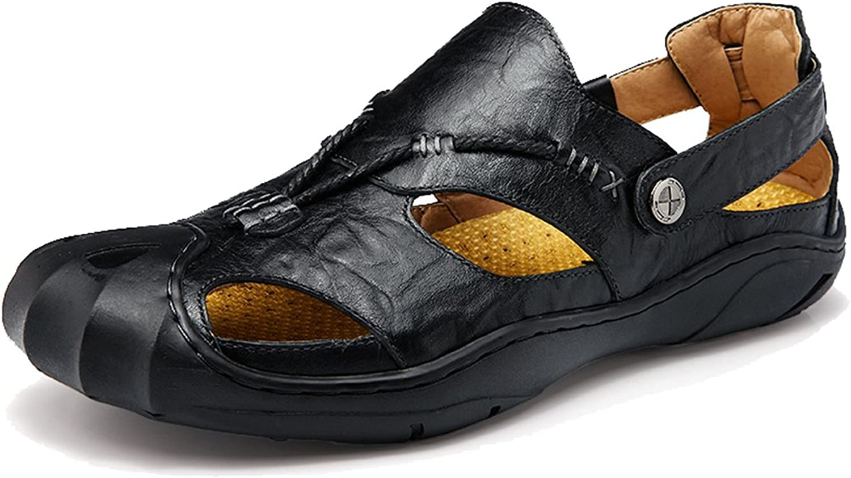 Femaroly Men's Close Toe Sandals Outdoor Casual Leather Crash shoes
