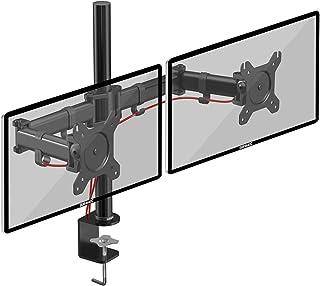 Duronic DM252 Soporte para 2 Monitores de 13 a 27 Pulgadas con Doble Brazo 8Kg máx -Altura Ajustable Giratorio inclina...