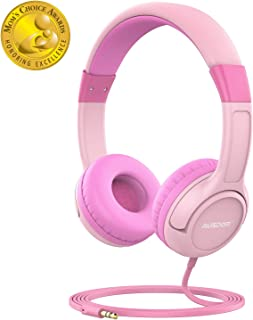 AUSDOM K1 Kids Headphones, On-Ear Wired Headphones for Children Baby with 85dB Volume Limited Hearing, Music Sharing Function, Safe Food Grade Material - Pink