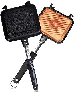 ホットサンドメーカー 直火・ih対応 Vsadey 焼き目付き 上下分離型 耳まで焼ける 具だくさん対応 フッ素樹脂加工 お手入れ簡単 丸洗い 焦げ付きにくい 軽量 アウトドア 家庭用 (上下分離型3)