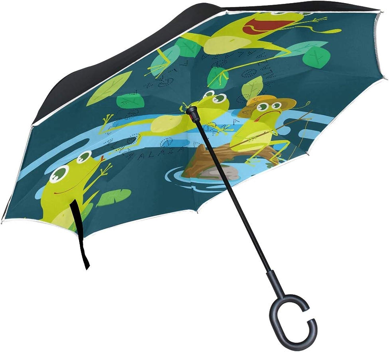15fa0a026bf3 Frog Art Umbrella Compact Windproof Double Layer Car Reverse UV ...
