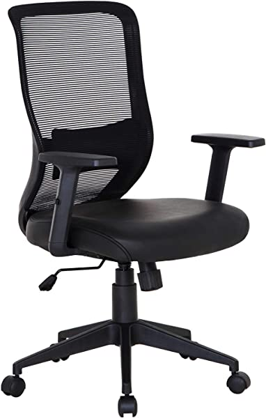 VECELO Pu Cushion Home Office Chair For Task Desk Work Black