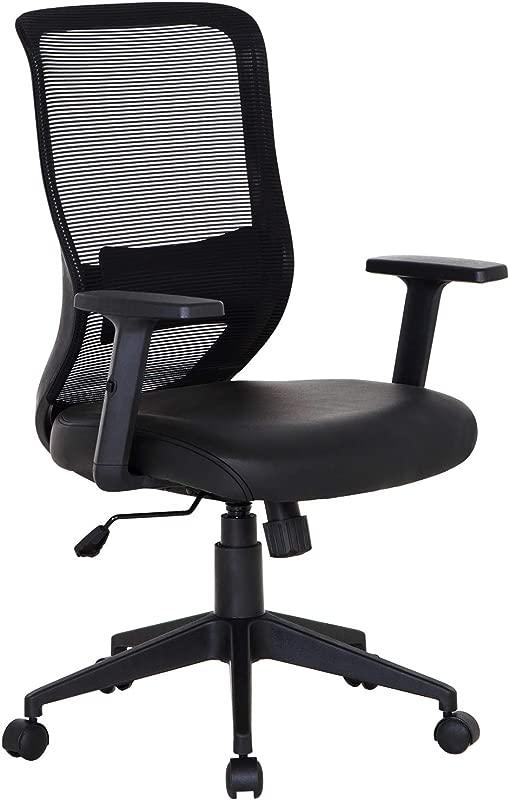 VECELO Pu Cushion Home Office Chair For For Task Desk Work Black