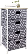 Vertical Dresser Storage Tower 4 drawer chest,Sturdy Steel Frame, Wood Top, Easy Pull Fabric Bins Organizer Unit for Bedroom, playroom, Entryway, Closets Lantern Printing