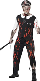 Mens Zombie Policeman Law Dead Cop Corpse Halloween Fancy Dress Costume Outfit